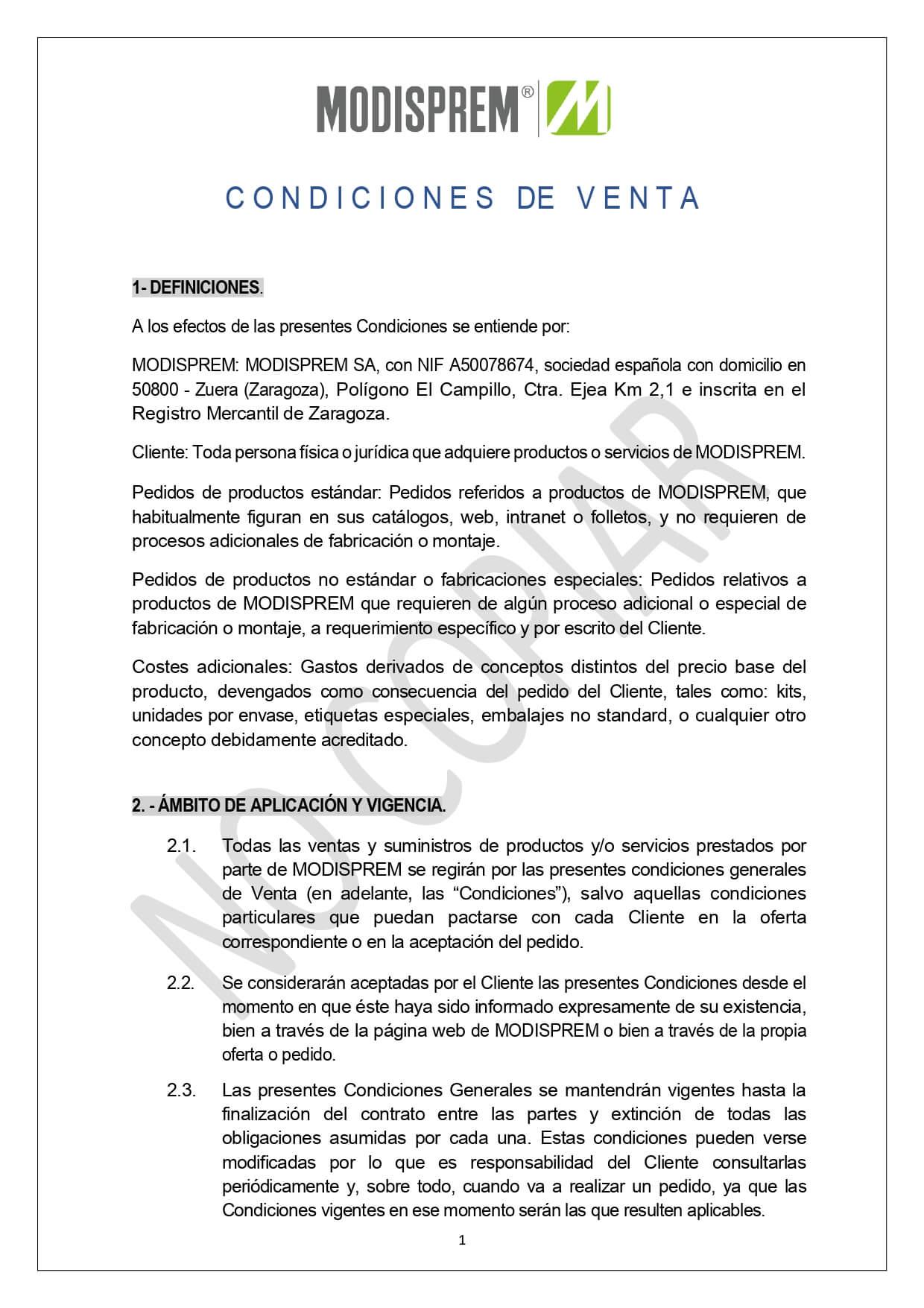 Condiciones Generales Venta page 0001