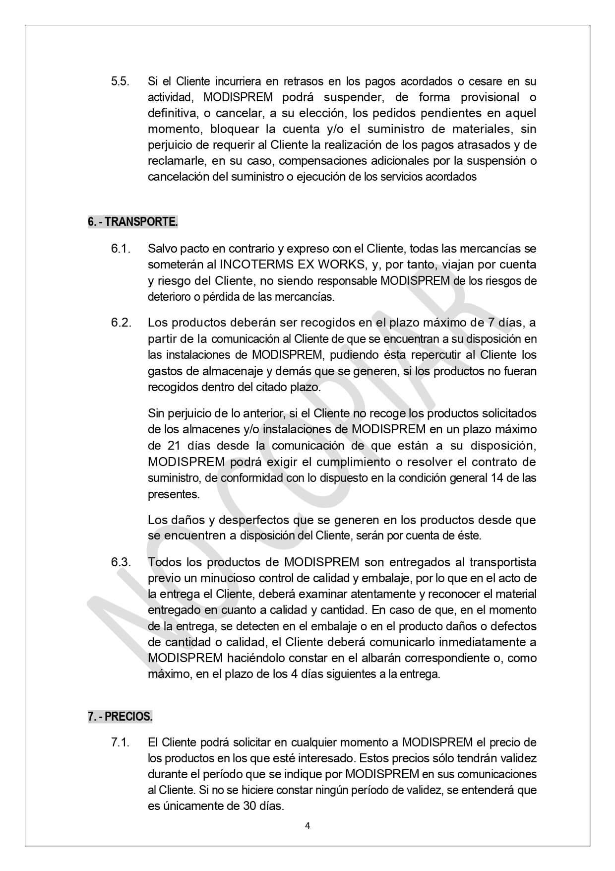 Condiciones Generales Venta page 0004