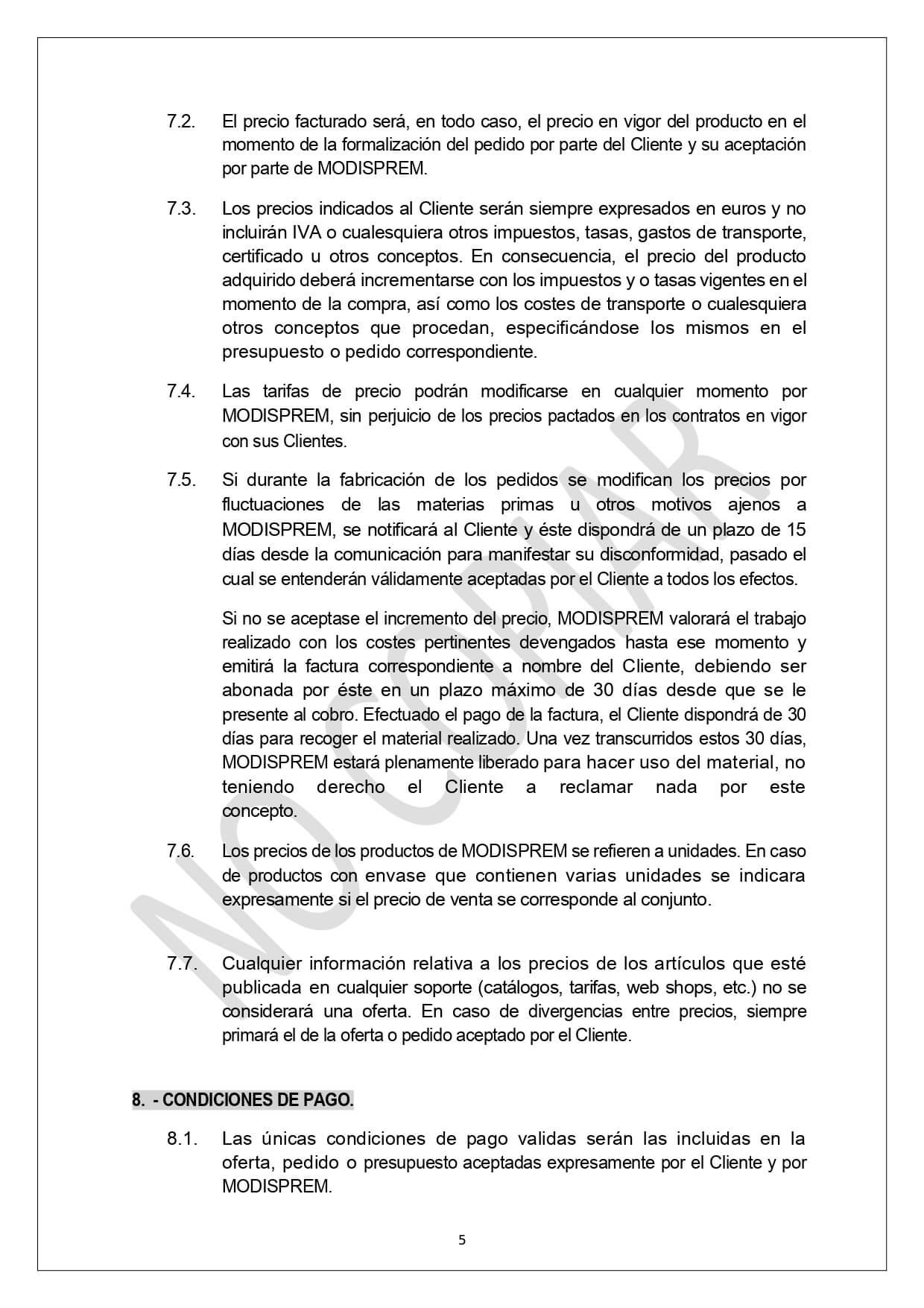 Condiciones Generales Venta page 0005