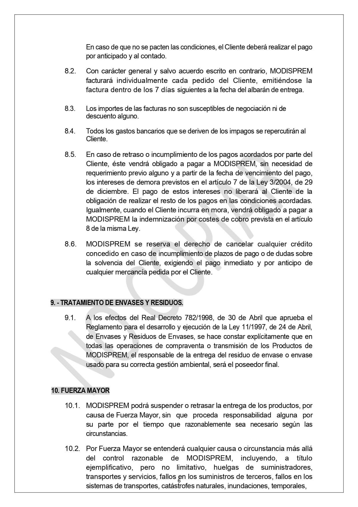 Condiciones Generales Venta page 0006